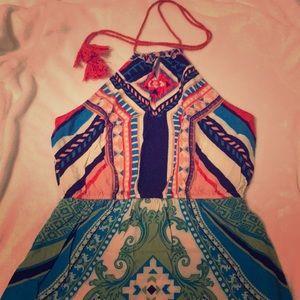 Tribal Maxi Dress With Halter Tie